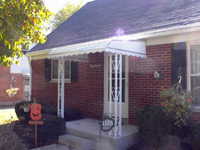 Awning on front steps of a house